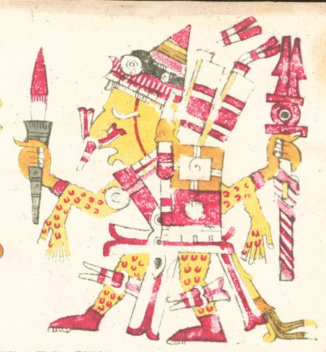"""ipe Totec """"Our flayed lord"""" wearing a human skin depicted in the Codex Borgia"""