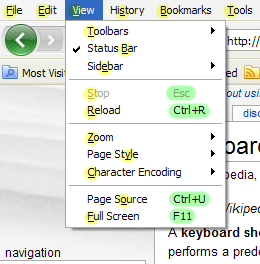 Firefox 3 view menu, annotated with keyboard s...