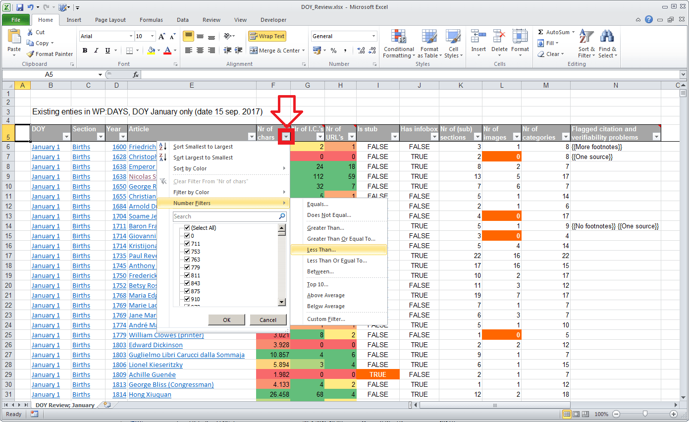 File Spreadsheet Doy Review January