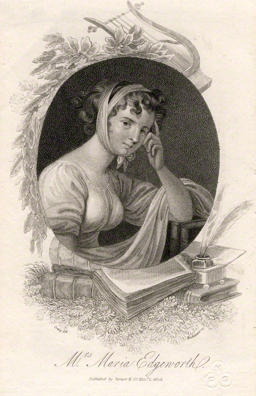English: Portrait of Maria Edgeworth, line and...