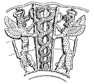 The ancient Sumerian god Ningishzida, the patr...