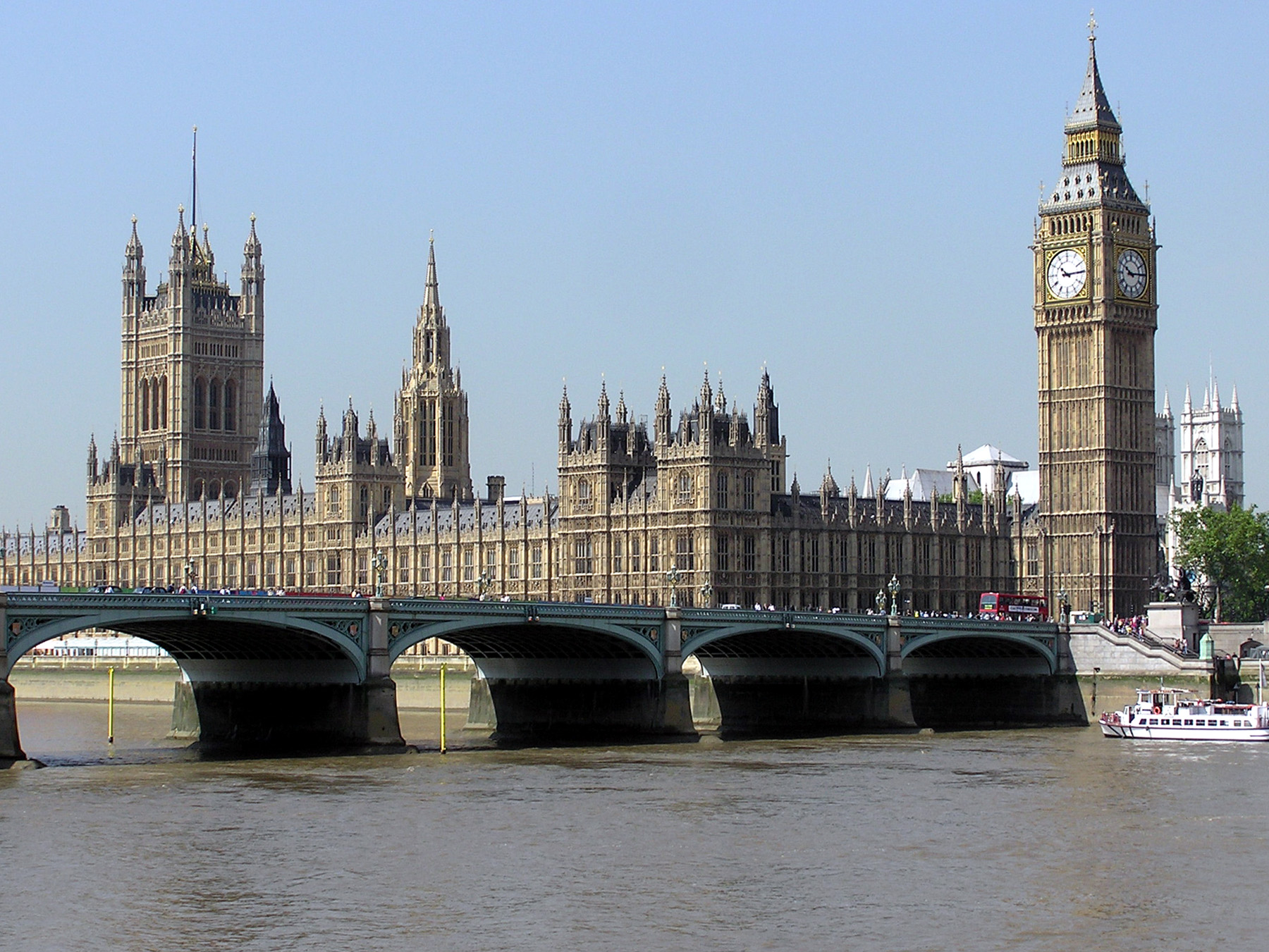 The building of the British Parliament (Palace of Westminster).
