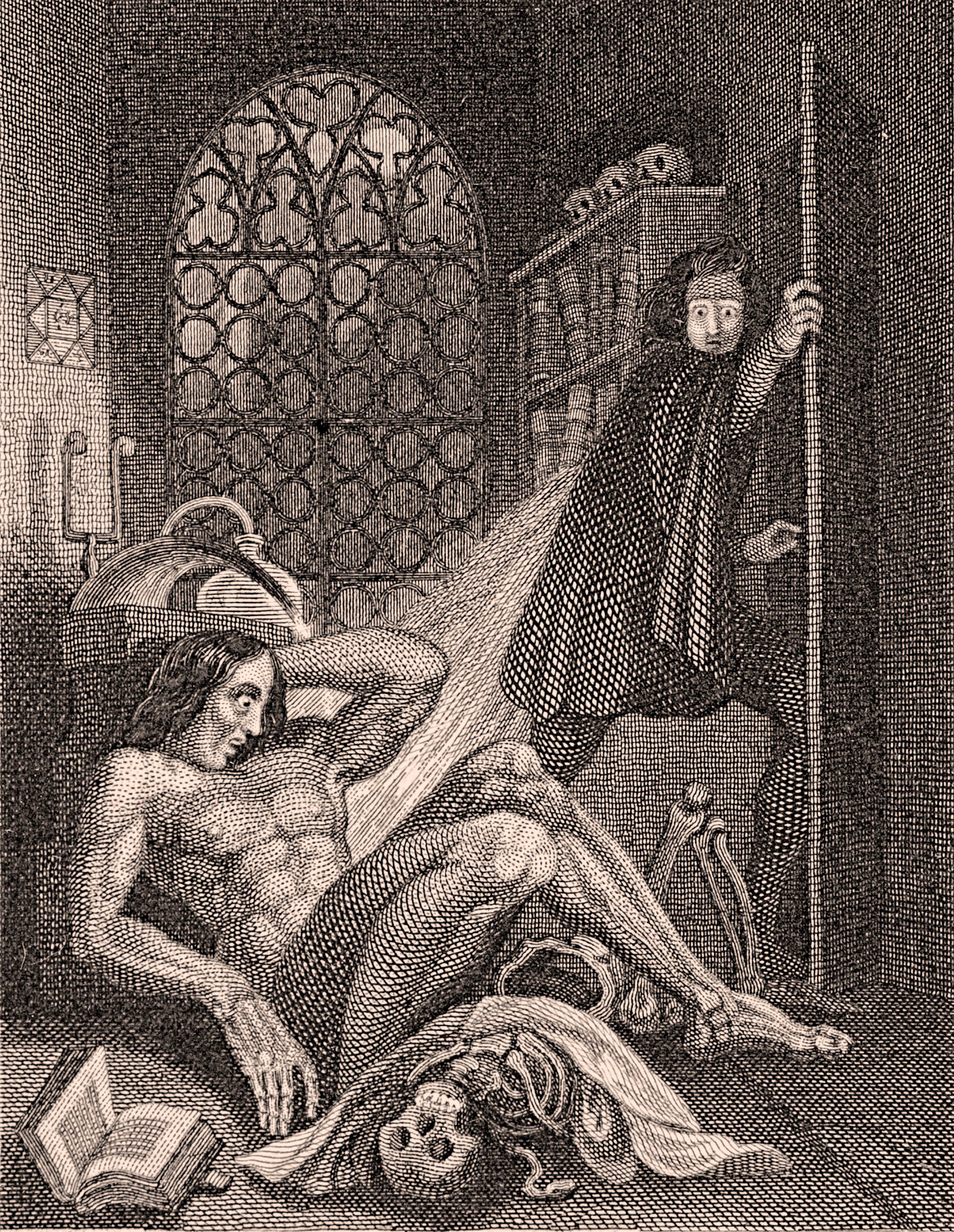 Frankenstein   Wikipedia Illustration by Theodor von Holst from the frontispiece of the 1831 edition   Frankenstein