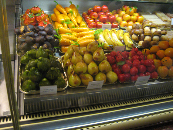 Fruit- and vegetable-shaped marzipan.