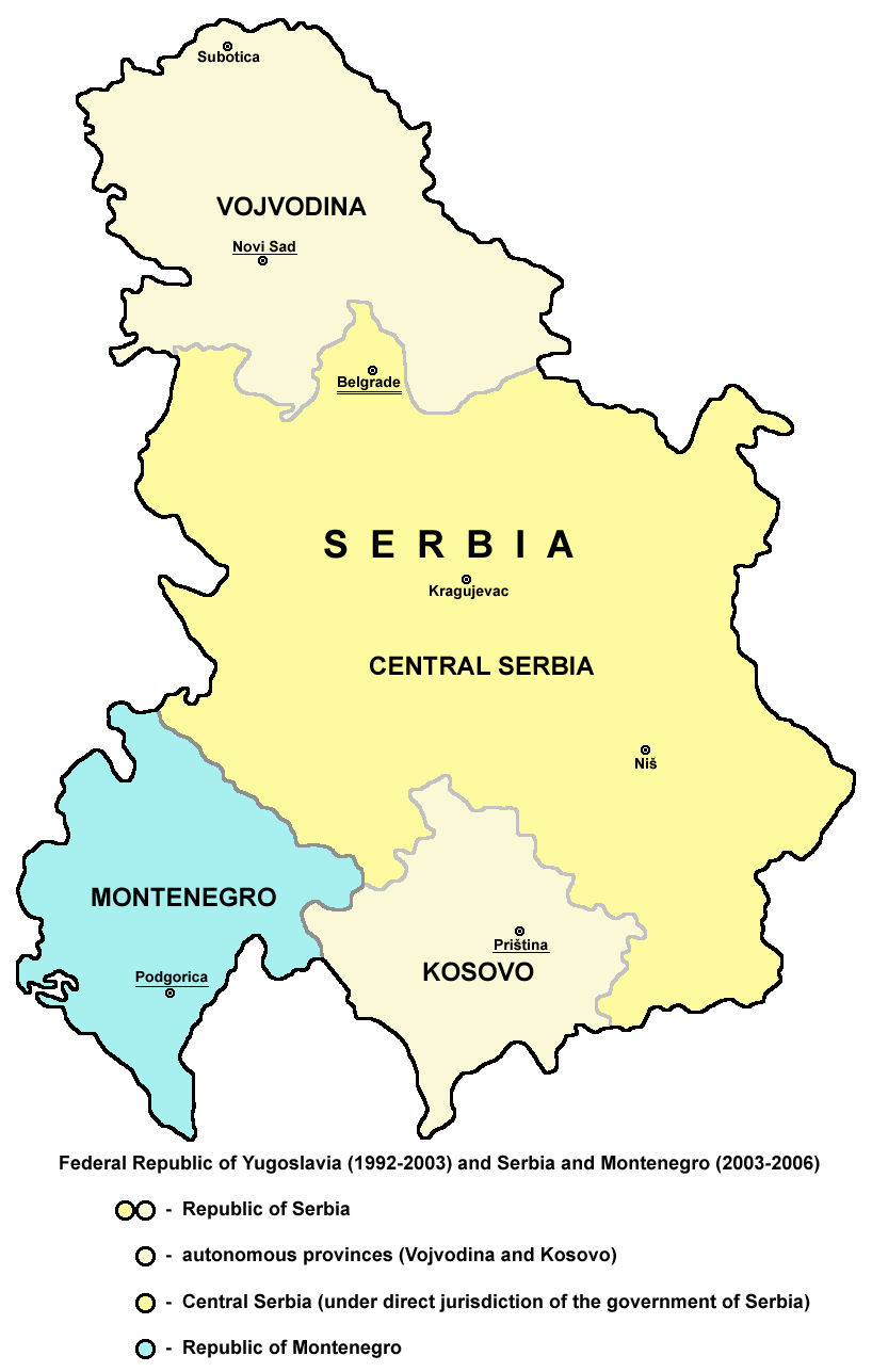 Map of Vojvodina within Federal Republic of Yu...