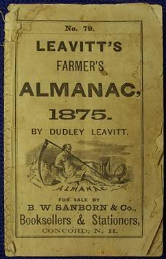English: Leavitt's Farmer's Alamanac, 1875, by...