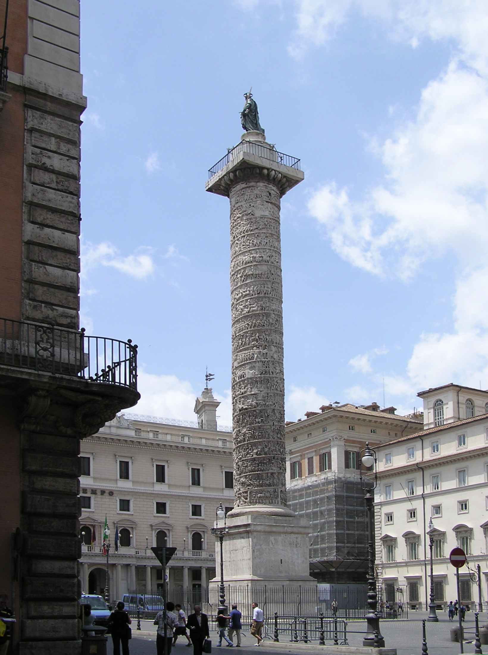 The Column of Marcus Aurelius, in Piazza Colonna, Rome, Italy. Marcus has been replaced at its top by St Paul.