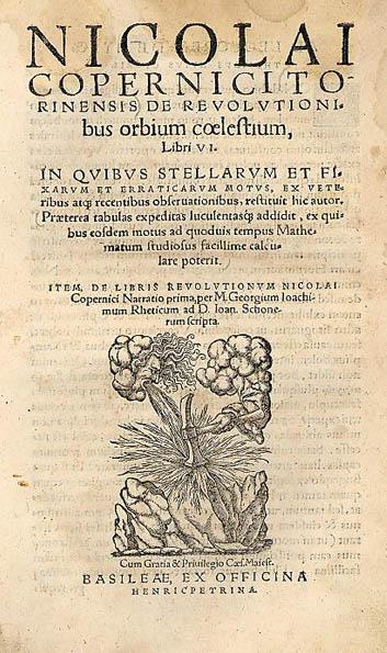 Primera página de De Revolutionibus Orbium Coelestium, de Nicolás Copérnico, 1543. Crédito: Wikipedia Commons.