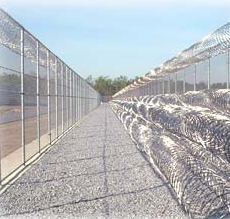 Concertina razor wire at a prison