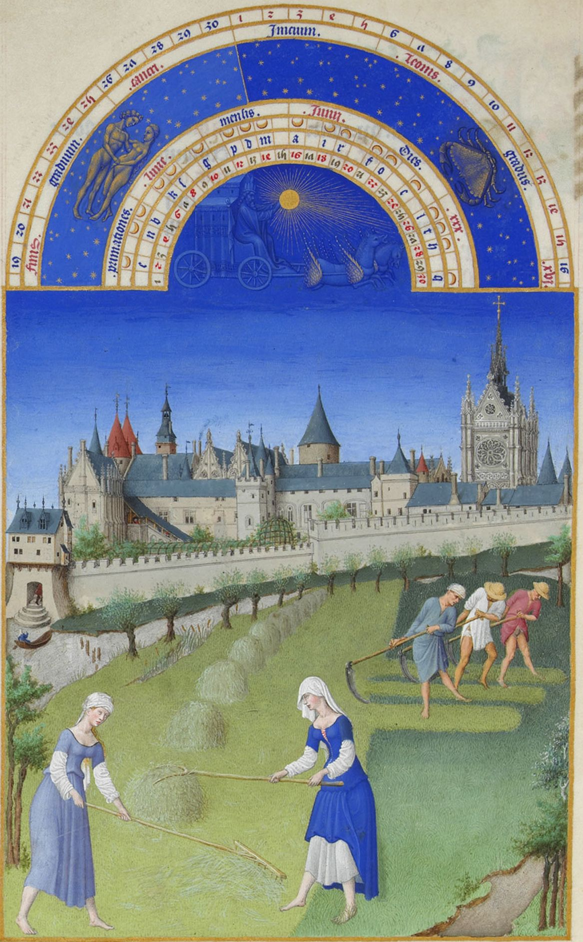 "Limbourg Brothers, ""The Book of Hours."" Haymaking. Place - Paris, Zhyuif meadow on the island, close to the Cité."