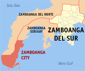 Map of Zamboanga Penninsula showing the locati...