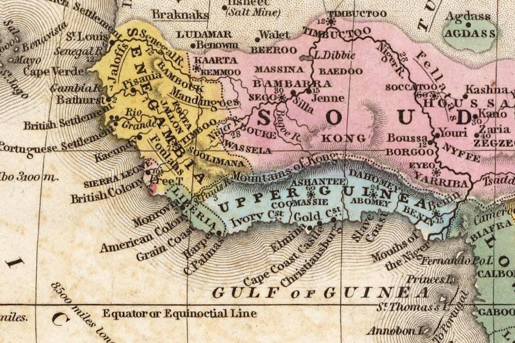 An 1839 map of West Africa cartography