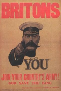 Cartaz da Primeira Guerra Mundial, a apelar à mobilização.