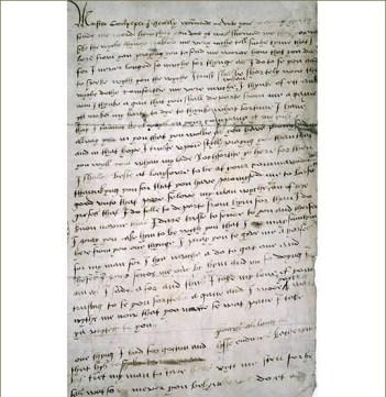Carta de Catalina Howard a Thomas Culpeper, que fuera prueba concluyente de la infidelidad de la reina.