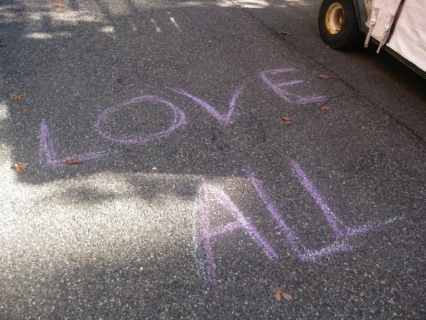 English: A chalk message from The You-Are-Love...