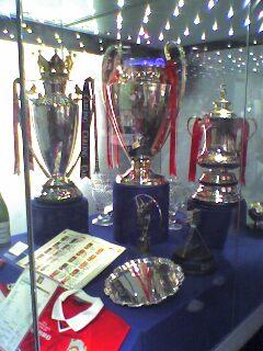 The Treble trophies – the Premier League, Cham...
