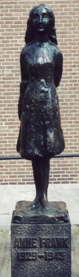Statue of Anne Frank outside Westerkerk, Amsterdam