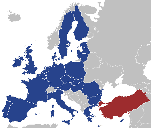 Map of the European Union with the Republic of...