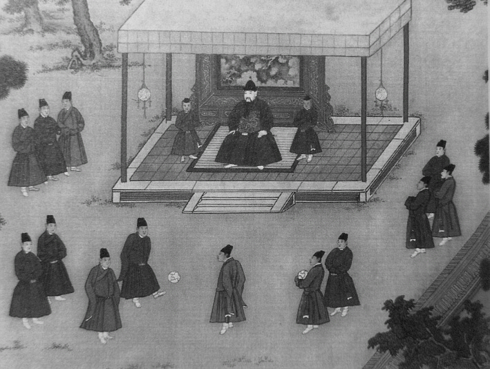 The Yongle Emperor observing court eunuchs pla...