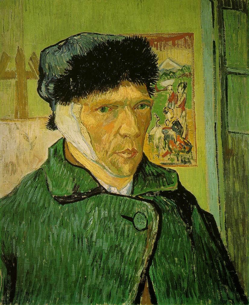 Yo con mi oreja vendada y mi gorro para el frío en la soledad de mi cuarto viendo caer las hojas.