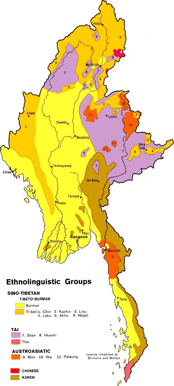 Les ethnies de la Birmanie - Wikicommons