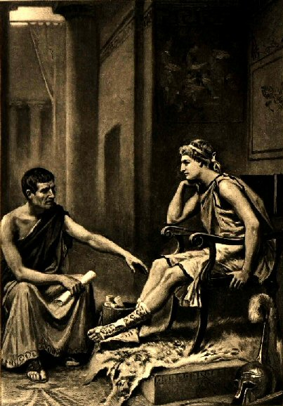 Aristotle tutoring Alexander, by J. L. G. Ferris, 1895.