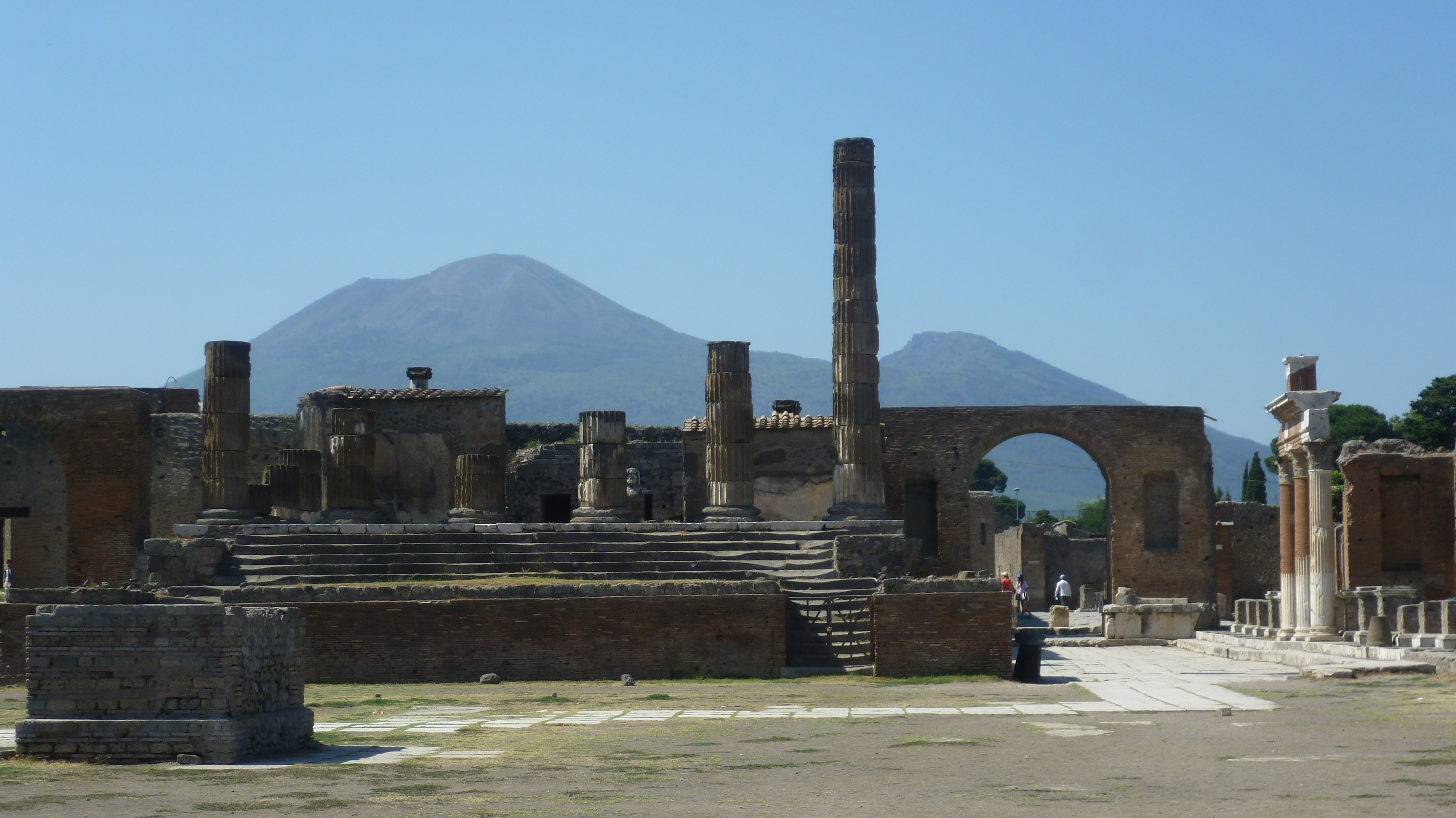 View from the Forum looking towards the Temple of Jupiter with Vesuvius in the background. Photo (c) 2012 Kim Traynor