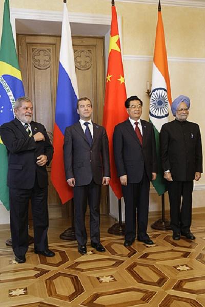 BRIC Leaders.  Lula Da Silva is on the left