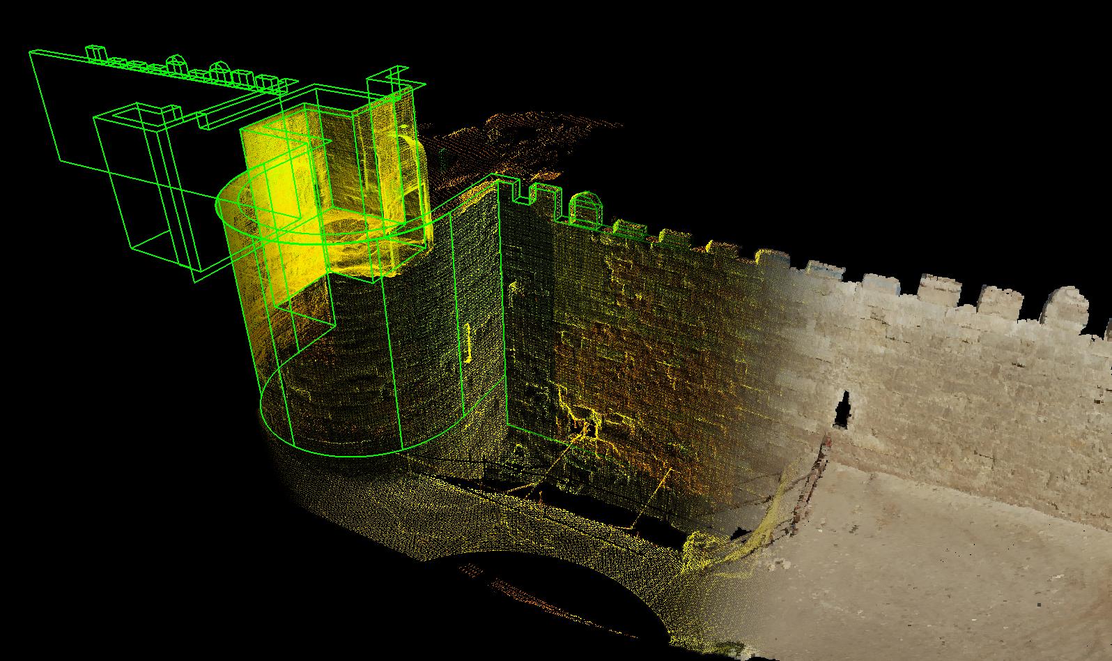Reconstitution isométrique auscanner tridimensionnelde la grande porte de Bab al-Barqiyya à al-Qahira (Le Caire) sur les remparts desAyyoubides(xiiesiècle). Cette porte fortifiée comprend plusieurs enceintes enchâssées les unes dans les autres afin d'assurer une sécurité très supérieure aux autres citadelles de l'époque.