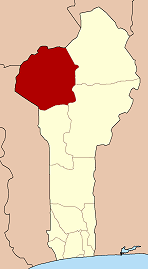 Map highlighting the Atakora Department