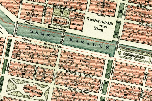 Kvarteren norr om Domkyrkan 1888