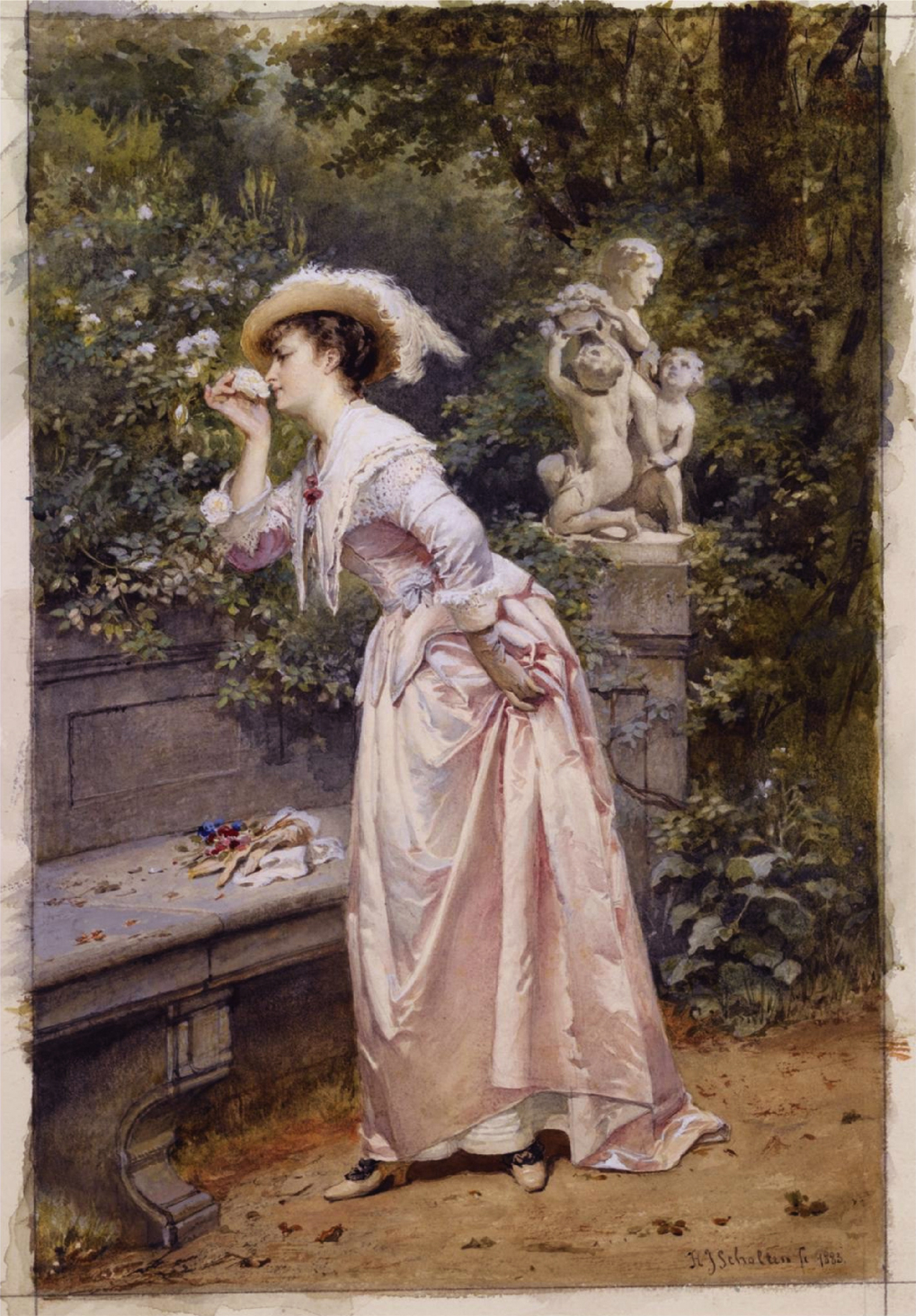 English: An elegant lady smelling roses 41 x 2...
