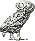 Owl of Minerva (cut off an old coin)