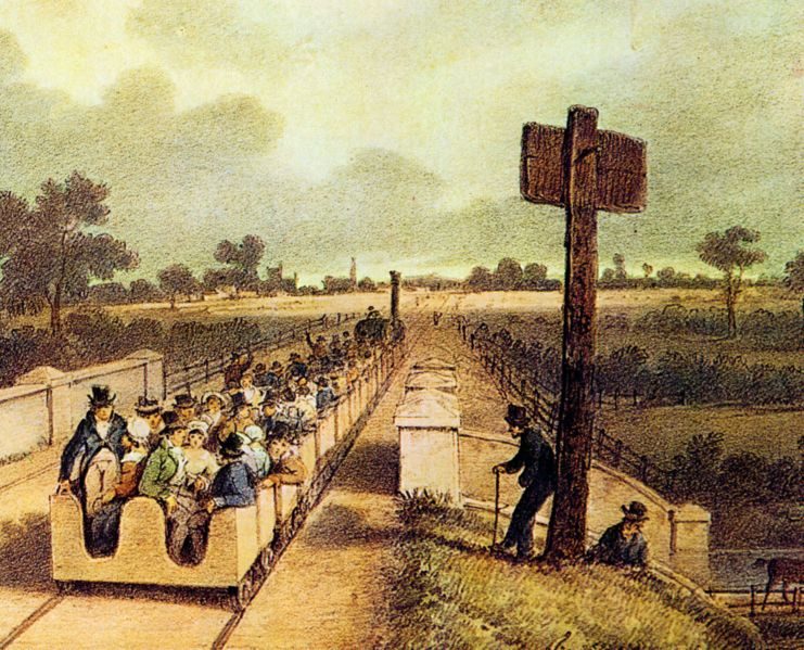 The opening of the Liverpool and Manchester Railway in 1830, the first inter-city railway in the world and which spawned Railway Mania due to its success.