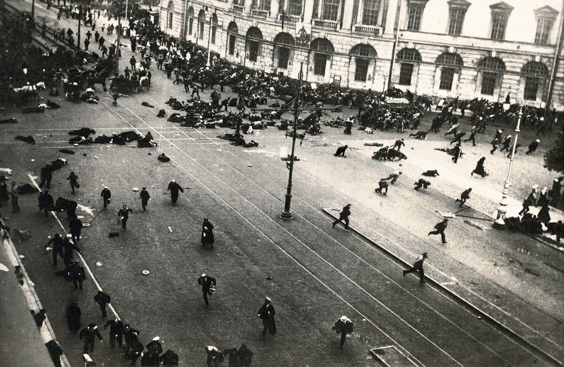 Petrograd (Saint Petersburg), July 4, 1917. Street demonstration on Nevsky Prospekt just after troops of the Provisional Government have opened fire with machine guns.