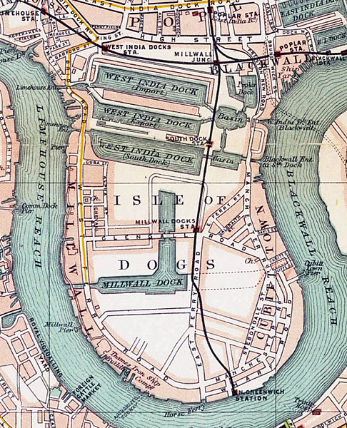 "Le site de Canary Wharf, ""isle of dogs"", mappe de 1899."