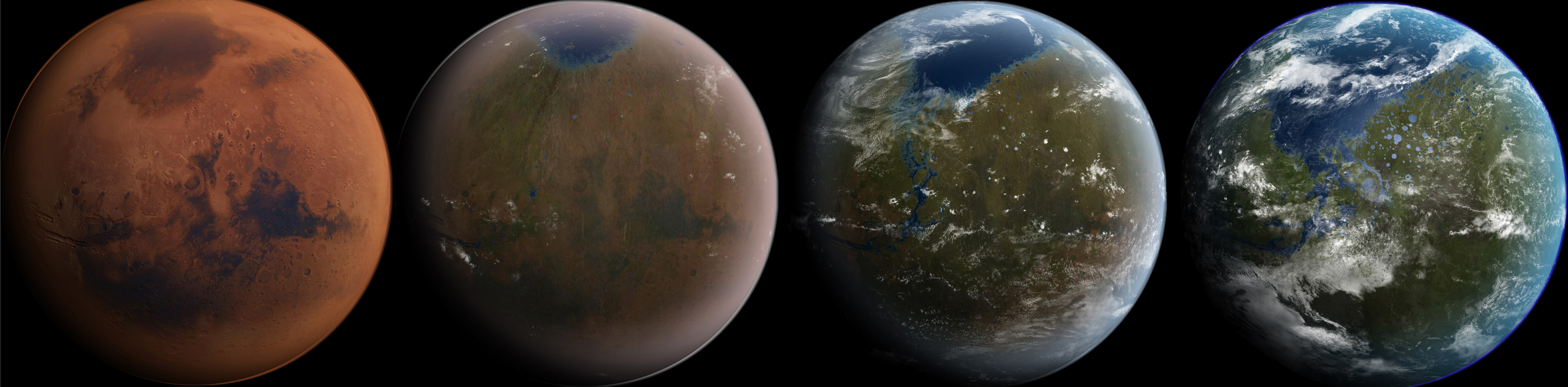An artist's impression of how a terraformed Mars may look in a few hundred years.
