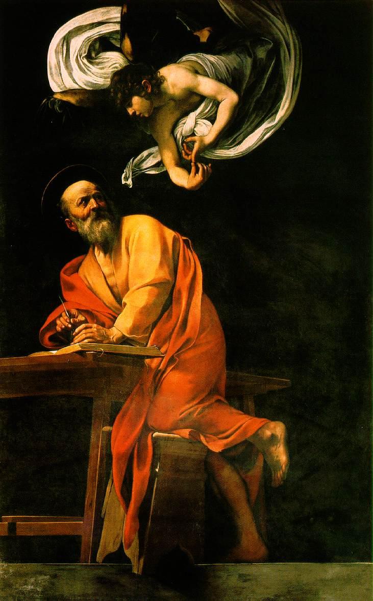 Carravagio, Sfîntul Matei şi îngerul, 1602, ulei pe pînză