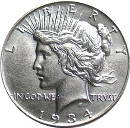 English: Obverse of peace dollar Русский: Авер...