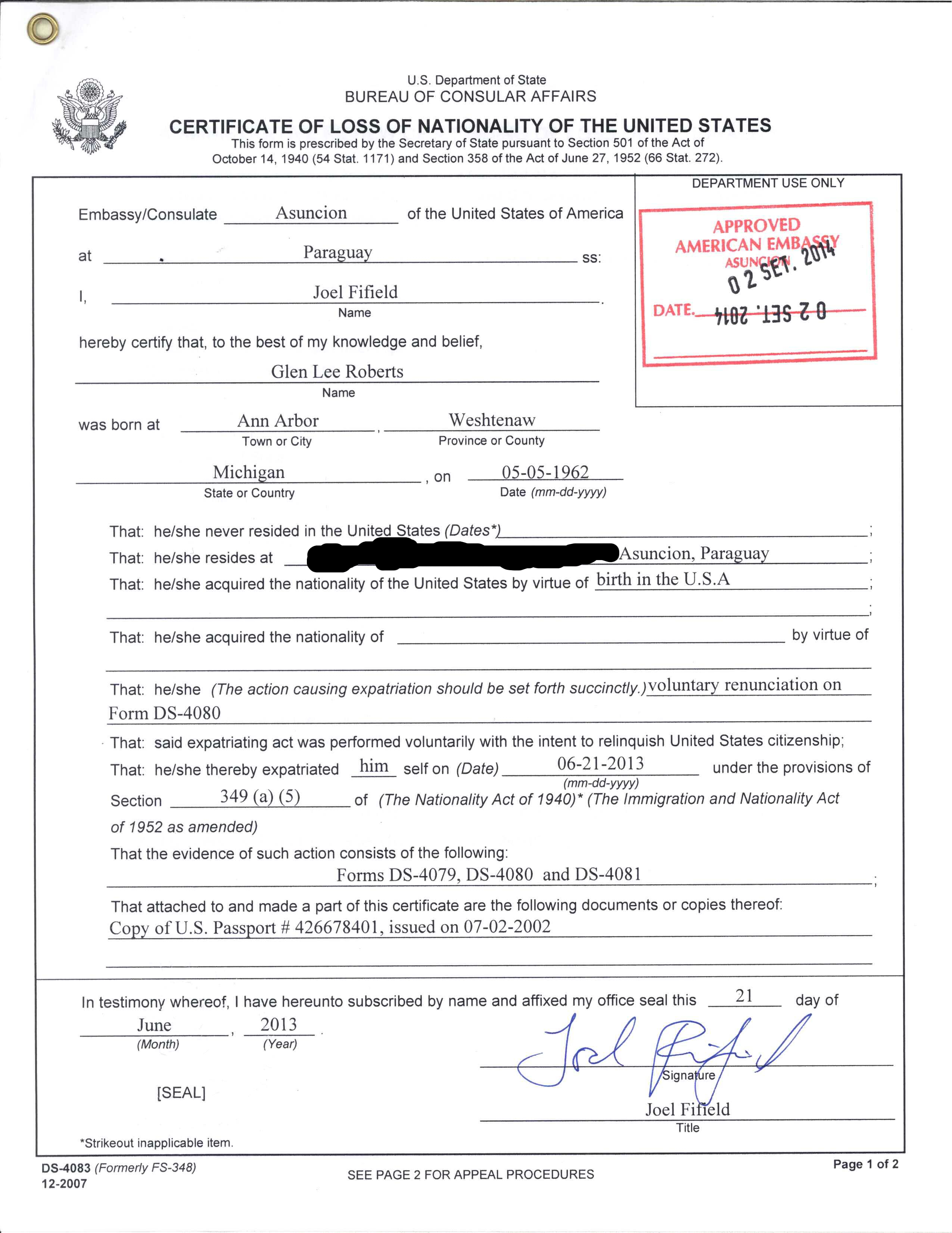 File Certificate Of Loss Of Nationality Of The United