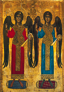 12th century icon of the Archangels Michael an...