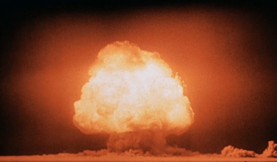 """The Trinity test of the Manhattan Project was the first detonation of a nuclear weapon, which lead Oppenheimer to recall verses from the Bhagavad Gita: """"If the radiance of a thousand suns were to burst at once into the sky, that would be like the splendor of the mighty one """"...""""Now I am become Death, the destroyer of worlds"""".[110]"""