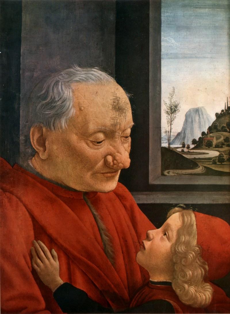 Pintura Retrato de velho com a neta, 1490, Domenico Ghirlandaio
