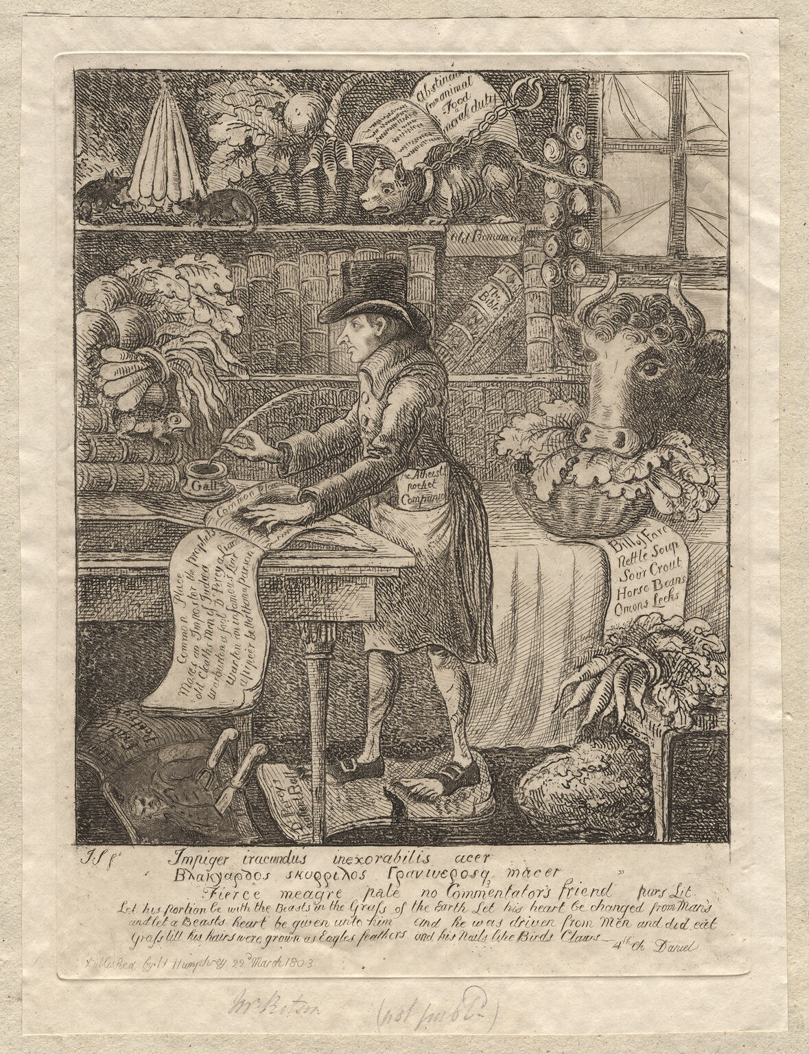 Spot the cow! Joseph Ritson (1752–1803), antiquary Engraving by James Sayers, published in 1803 Gallery: National Portrait Gallery, London