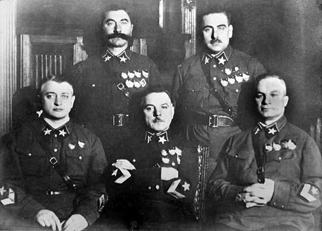 The first five Marshals of the Soviet Union in November 1935. (left to right): Mikhail Tukhachevsky, Semyon Budyonny, Kliment Voroshilov, Vasily Blyukher, Aleksandr Yegorov. Only Voroshilov and Budyonny survived the Great Purge.