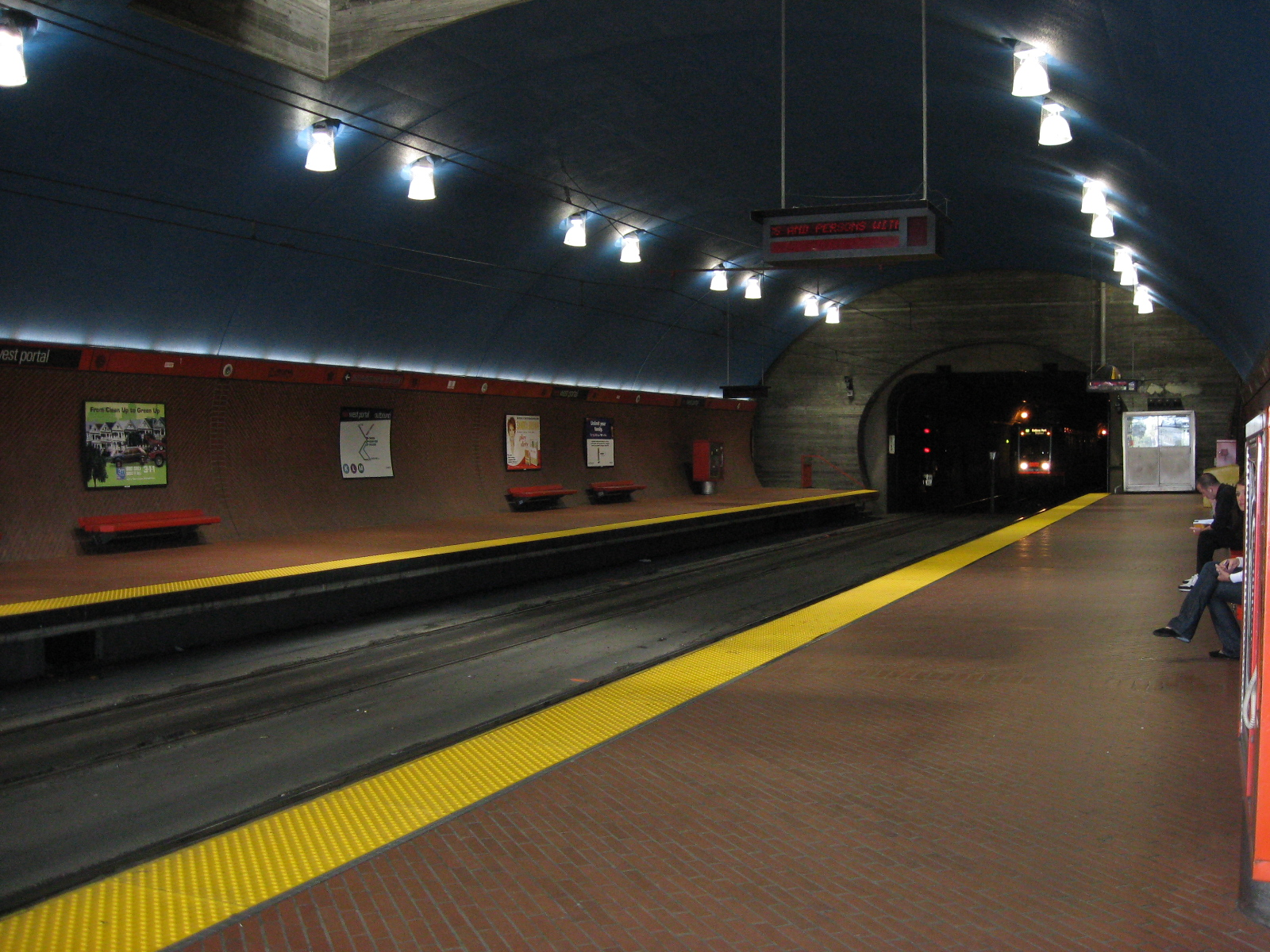 A Breda Car emerging from the Twin Peaks Tunnel into West Portal Station. It does look like it was taken from the 1970s to the 1980s, but it was taken in 2007.
