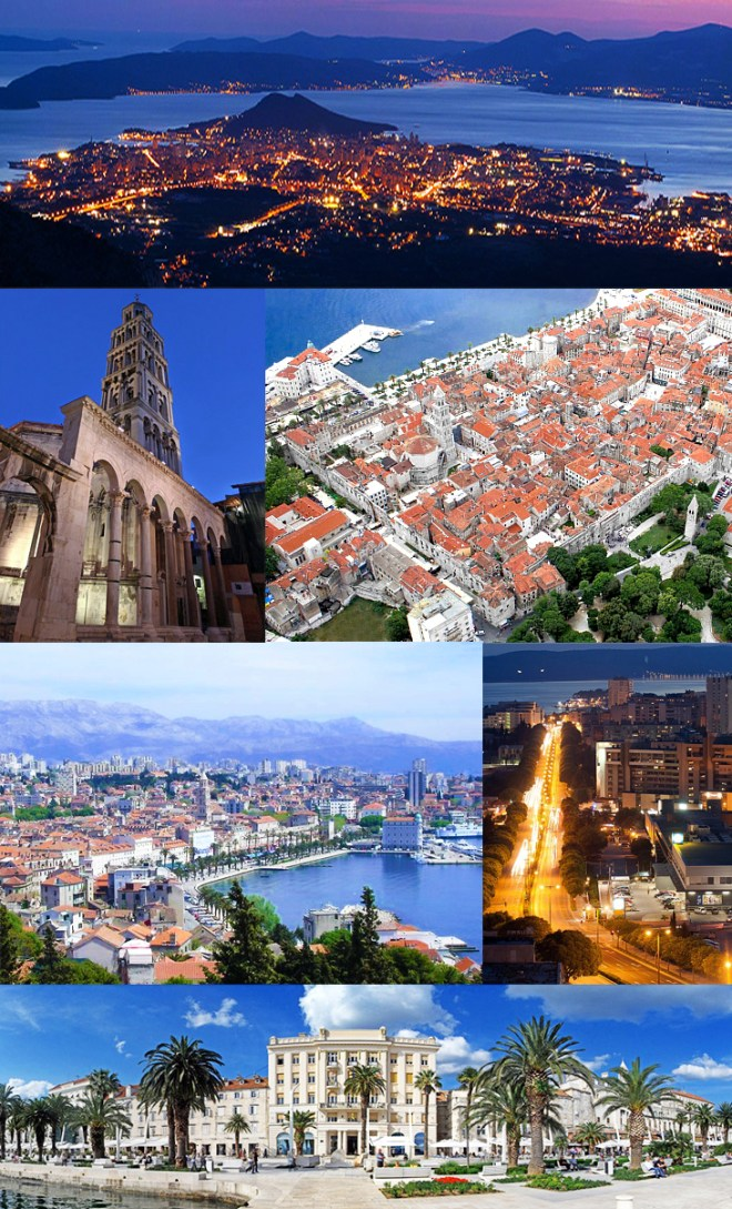 Top: Nighttime view of Split from Mosor; 2nd row: Cathedral of Saint Domnius; City center of Split; 3rd row: View on the city from Marjan; Night in Poljicka Street; Bottom: Riva waterfront