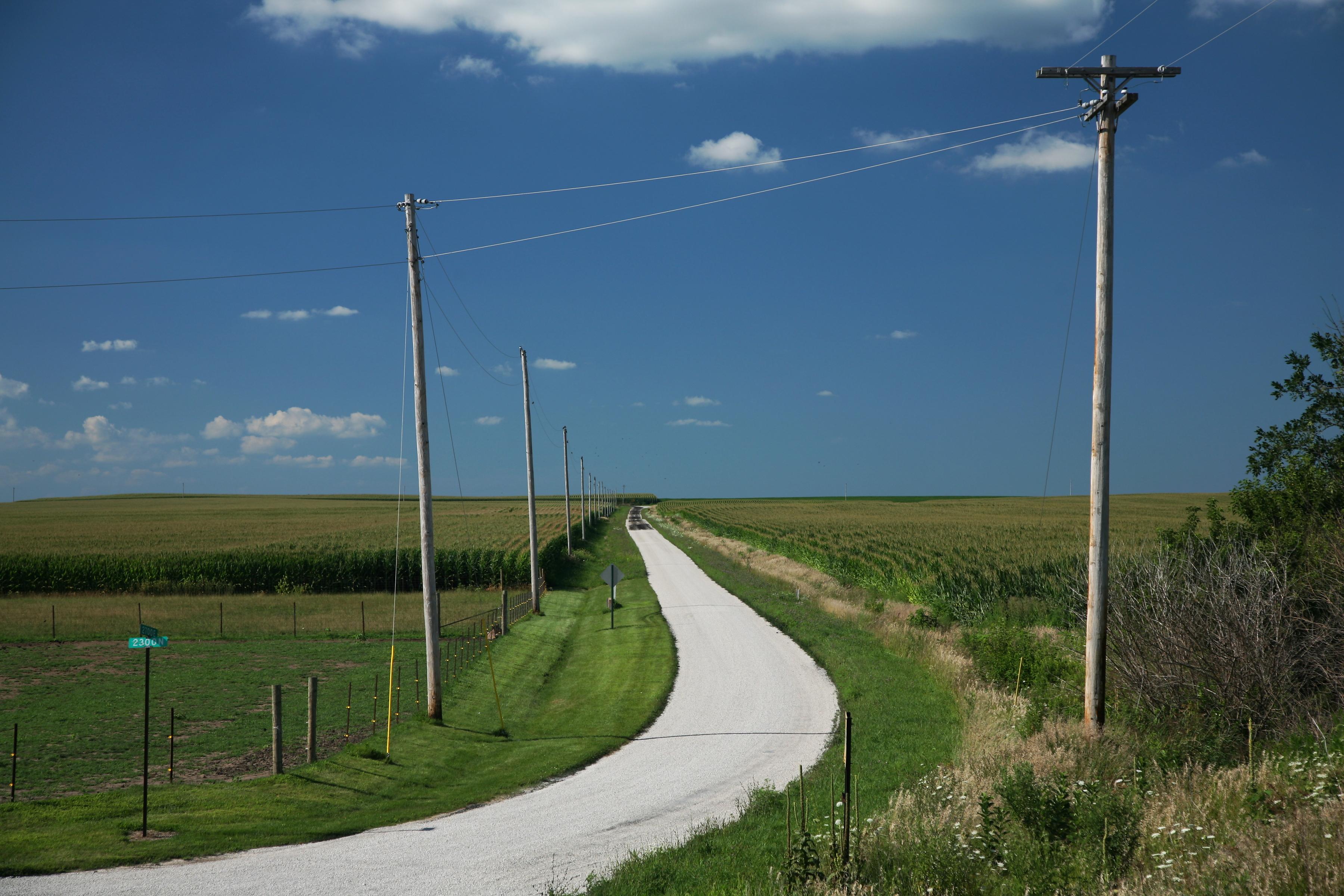 wikipedia commons photo: farm road through Champaign County