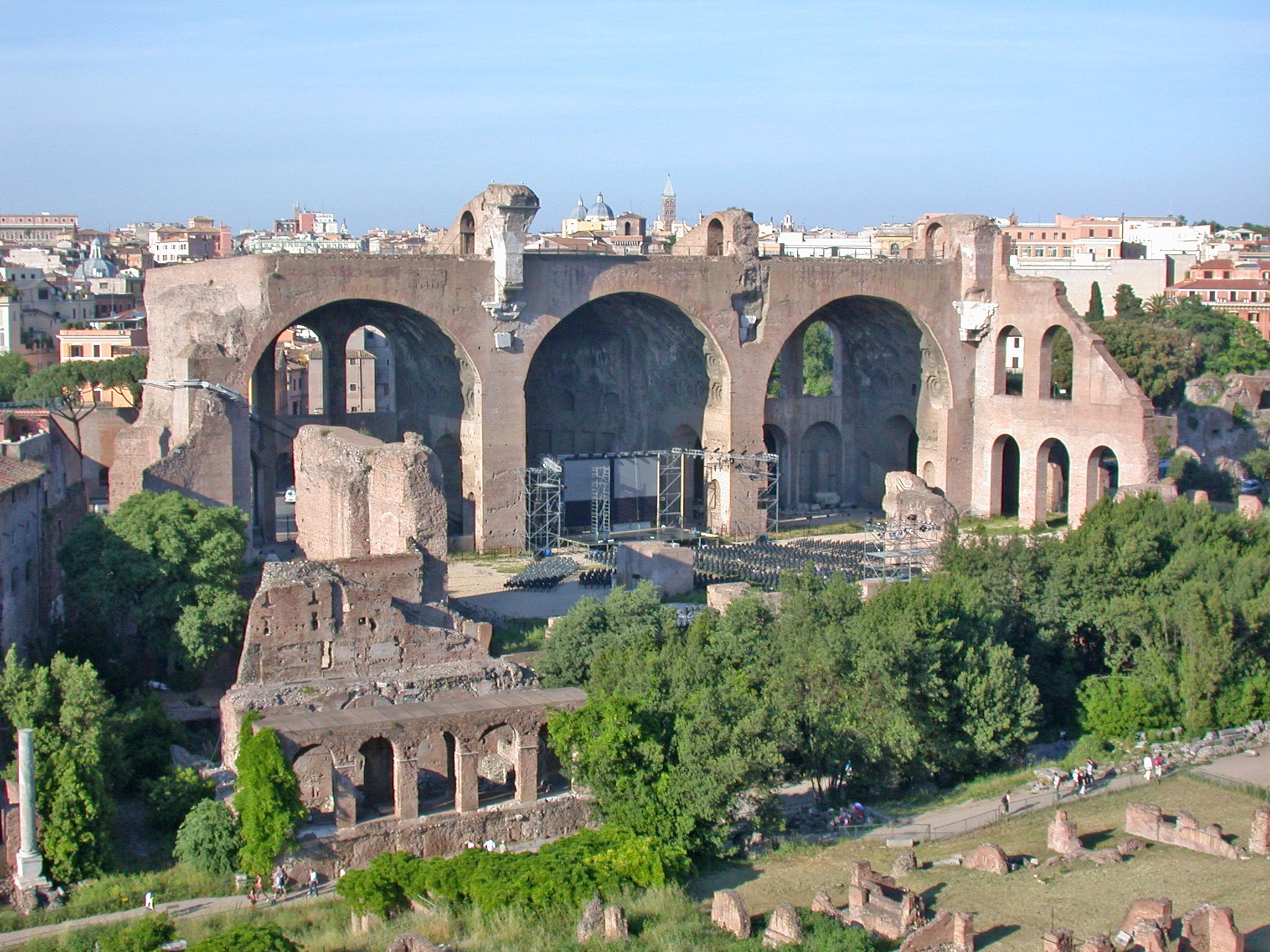 Forum Romanum, archeological area, Basilica of Maxentius and Constantine, view from Palatine hill