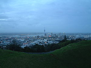 Dawn in Auckland New Zealand as seen from Mt. Eden
